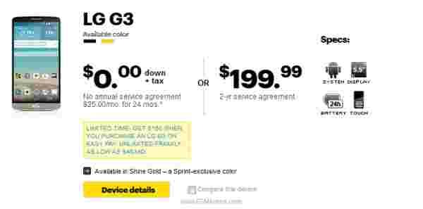 LG G3现在可从Sprint获得199.99美元