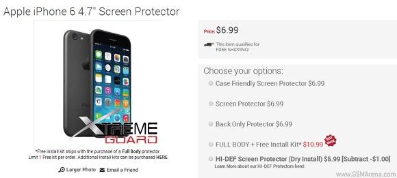 iPhone 6渲染在屏幕保护器上市