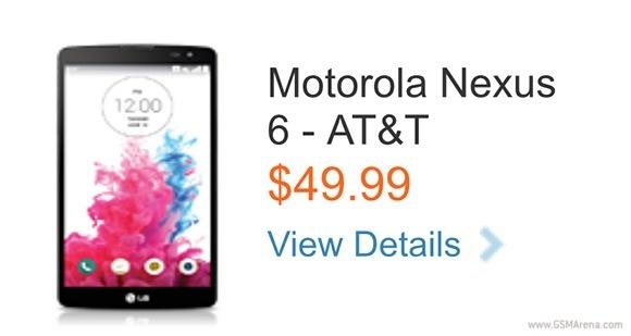 摩托罗拉Nexus 6上市出现在AT&T的网站上