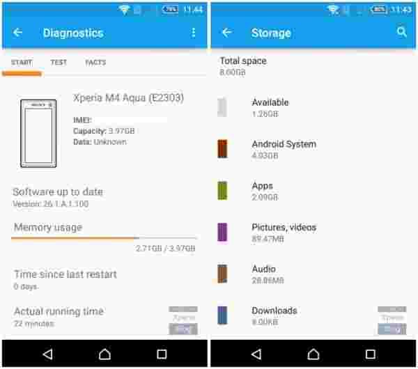 8GB索尼Xperia M4 Aqua仅有1.26GB可用的记忆