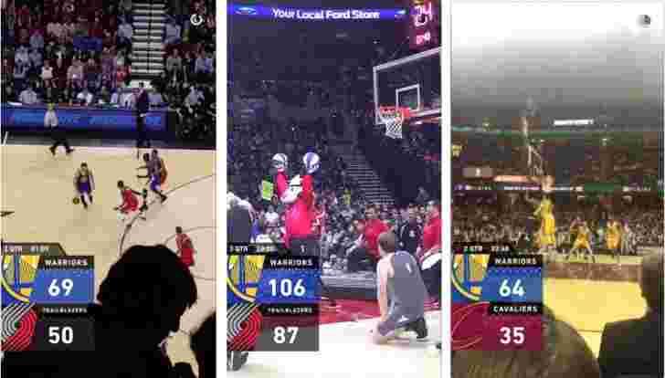 Snapchat针对NBA游戏的比分叠加的运动粉丝