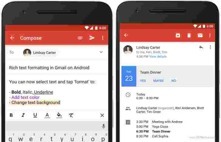 Gmail for Android获取丰富的文本格式和即时RSVP