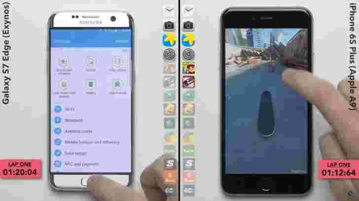 Galaxy S7 Edge(Exynos)与iPhone 6s SpeedTest