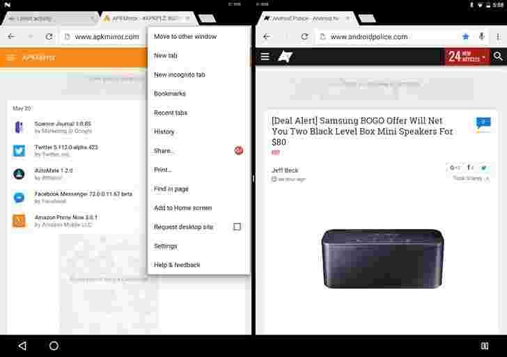 Android N Developer Preview现在可以并排运行Chrome