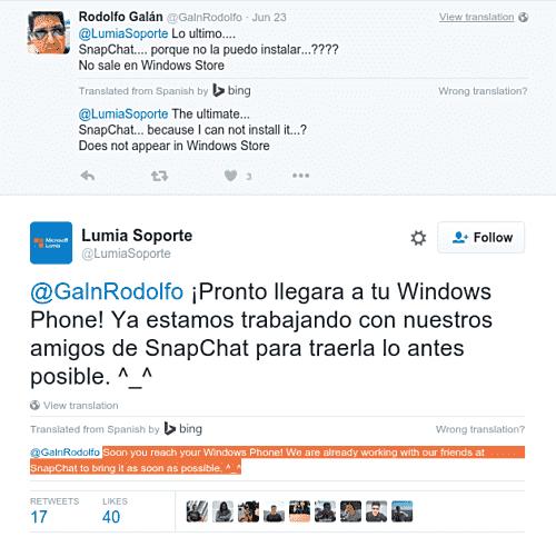 Windows Phone官方应用程序的Snapchat在作品中,Lumia Support说