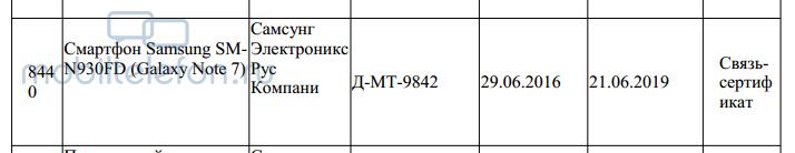 Galaxy Note7(SM-N930FD)在俄罗斯接收认证