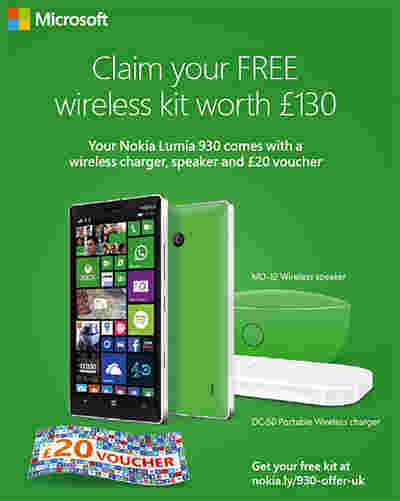 诺基亚Lumia 930在英国附带额外的配件