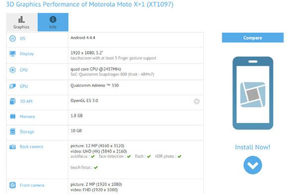 Motorola Moto X + 1规格由GFXBenchmark确认
